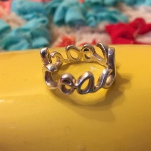 Coach Sterling Silver Script Ring